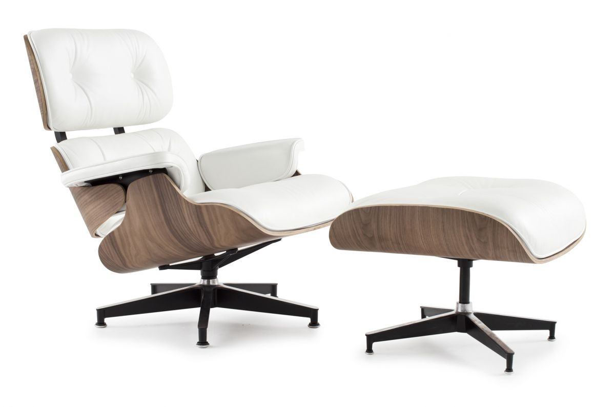 white eames lounge chair replica childrens wooden and table set style ottoman leather walnut