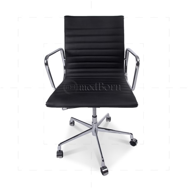 EA117 Eames Style Office Chair Low Back Ribbed Black Leather