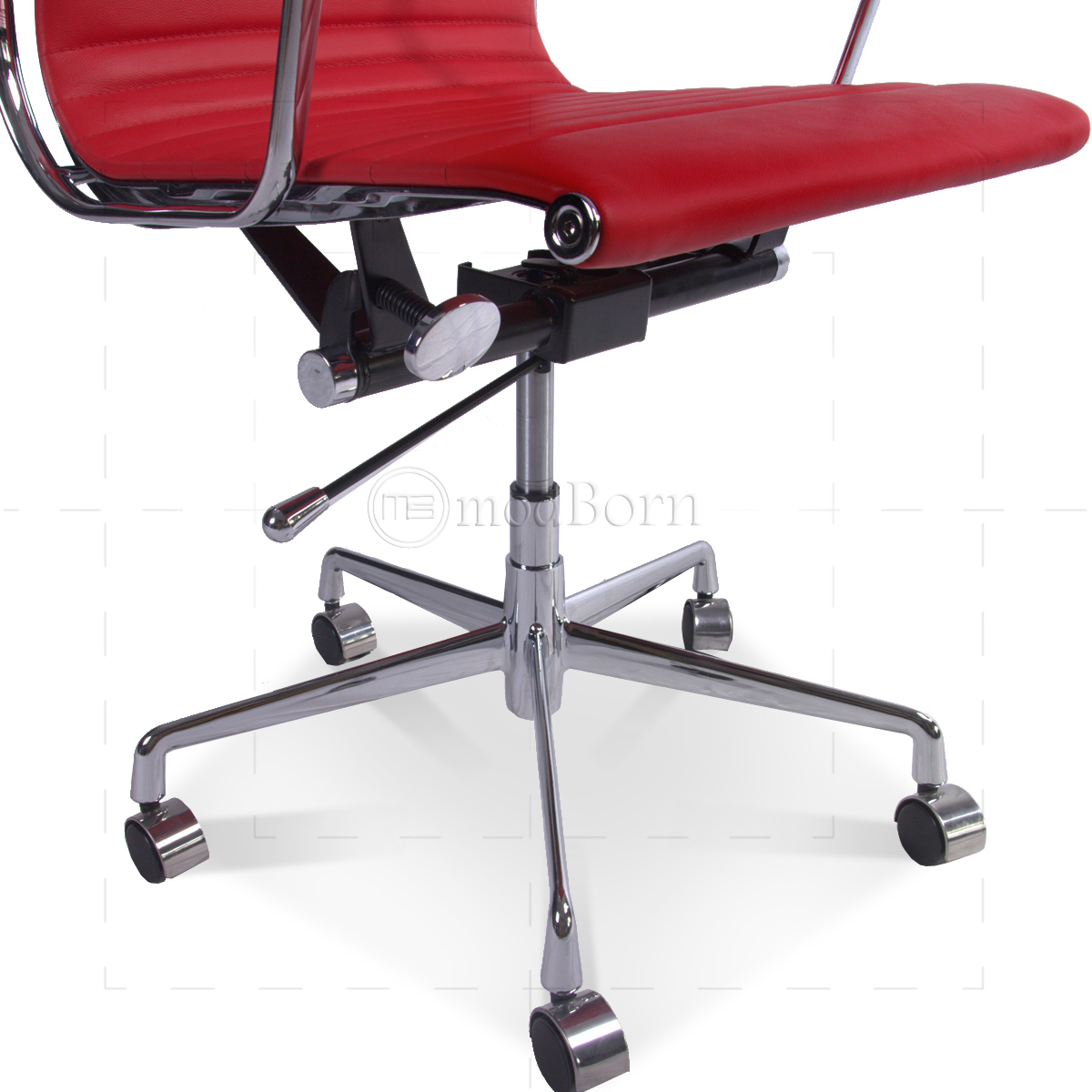 low back office chair round living room chairs ea117 eames style ribbed red leather