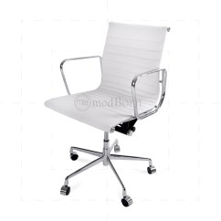 Stylish Office Chairs Uk High Chair For Toddler Ea117 Eames Style Low Back Ribbed White