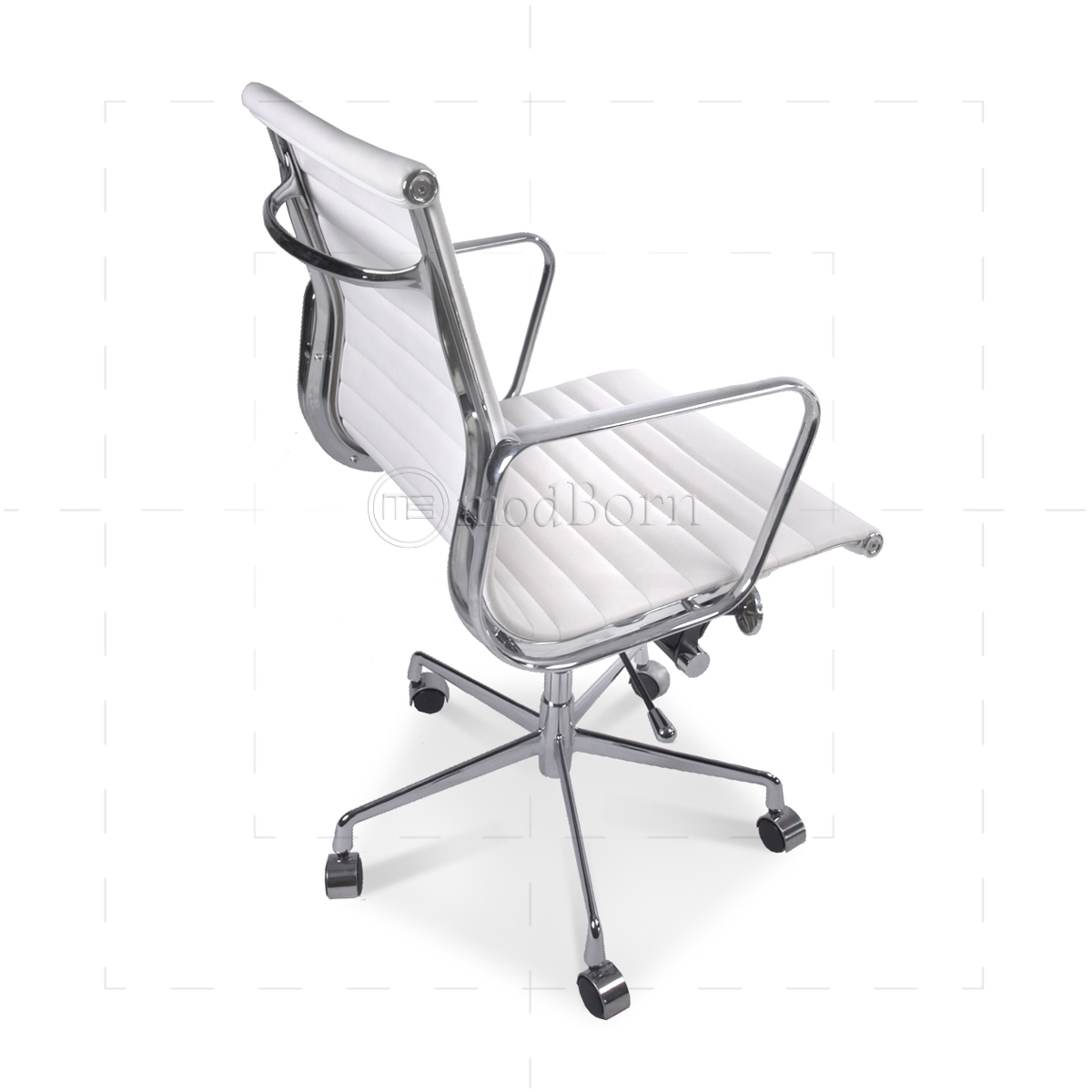 stylish office chairs uk pottery barn everywhere chair ea117 eames style low back ribbed white leather