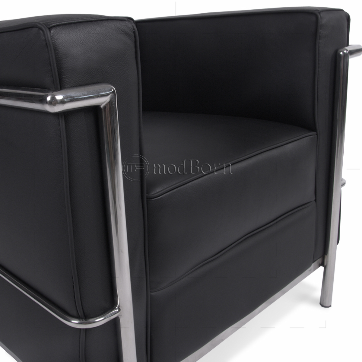 le corbusier sofa replica tufted futon bed style lc2 armchair 1 seater black leather