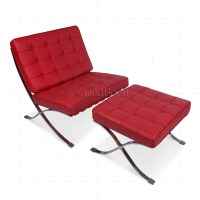 Ludwig Mies Ven Der Rohe Barcelona Style Chair Red Leather
