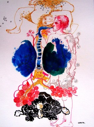 breathing time by artist Sudatta Basu – Illustration, Drawing | Mojarto |  197691