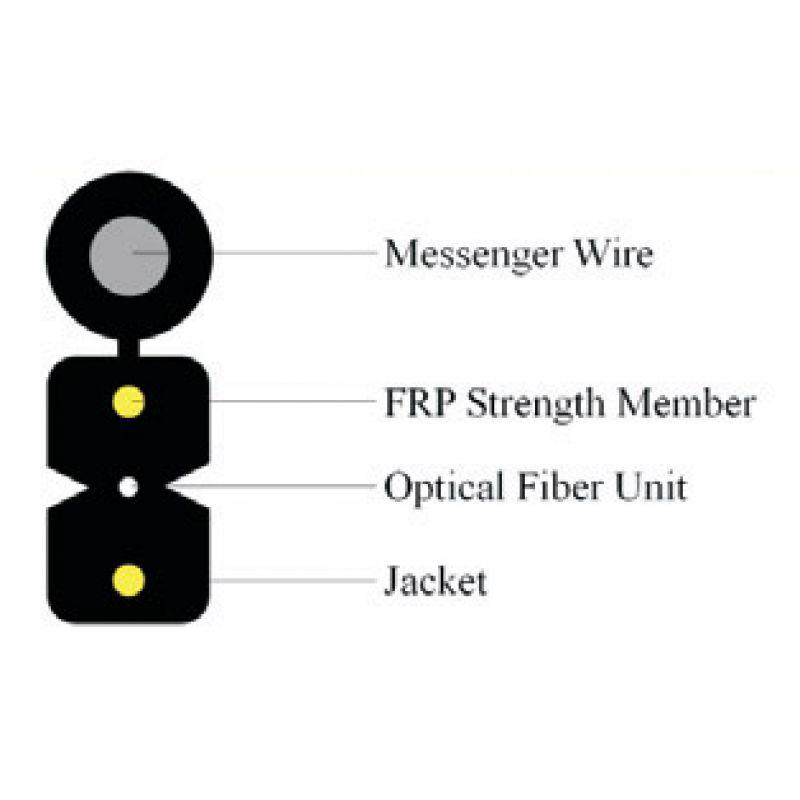 Cablu optic FTTH de exterior 2 fibre G657A cu sufa