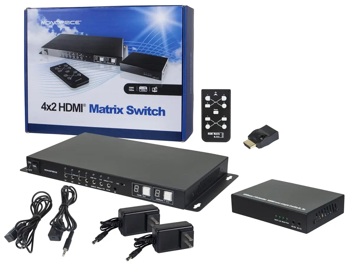 hight resolution of monoprice hdbaset 4x2 hdmi matrix switch and receiver large image 1