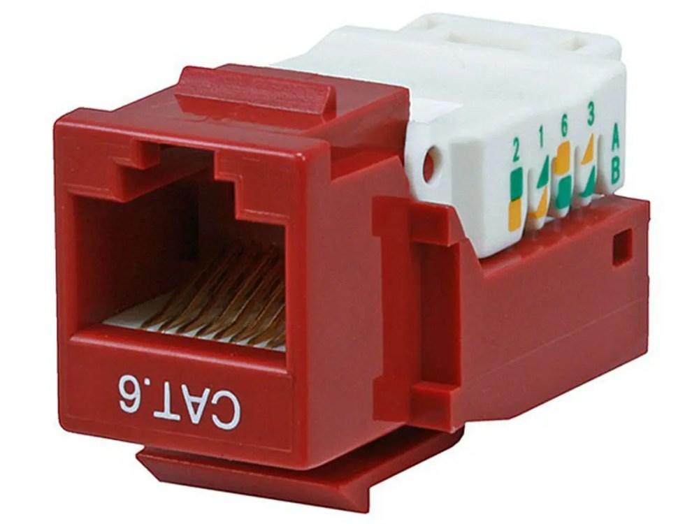 medium resolution of monoprice cat6 rj 45 toolless keystone red large image 1