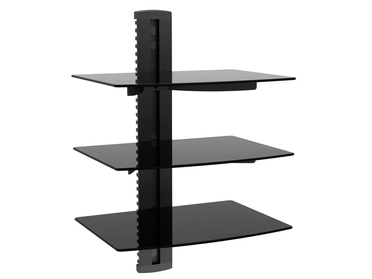 Monoprice 3 Tier Electronic Component Glass Shelf Wall Mount