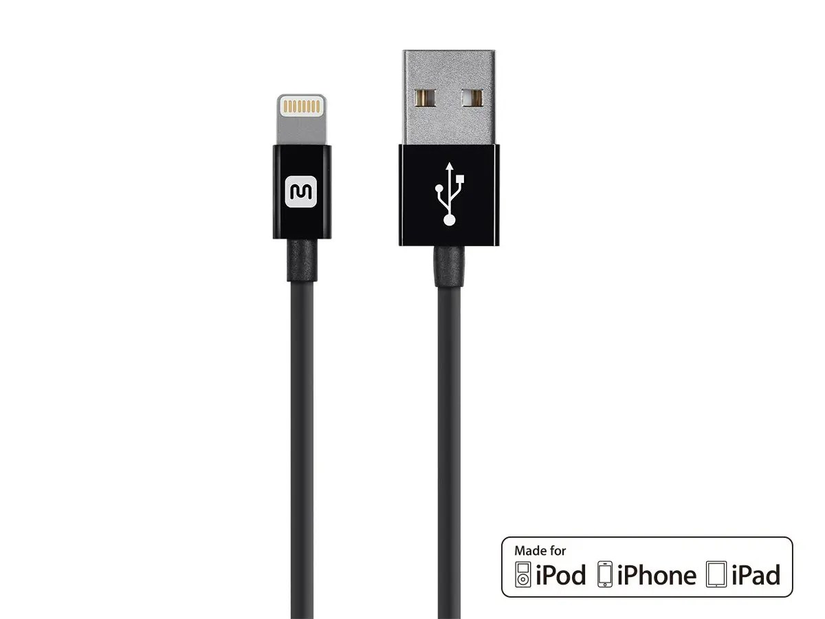hight resolution of monoprice select series apple mfi certified lightning to usb charge sync cable 3ft black