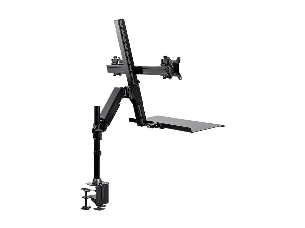 Monoprice Height Adjustable Sit Stand Dual Monitor And