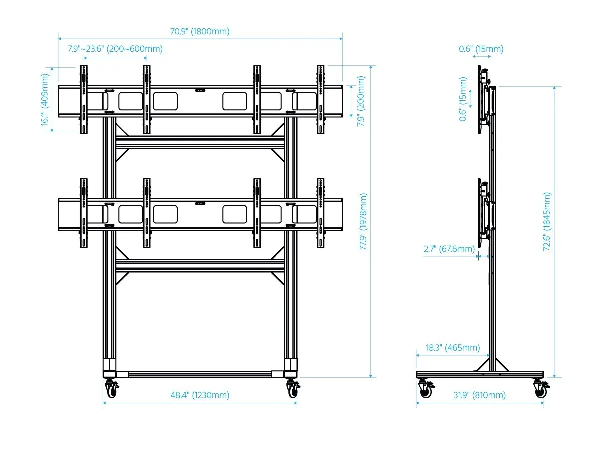 Monoprice 2x2 Video Wall System Bracket With Micro Adjustment Arms For Tvs 32in To 55in Max