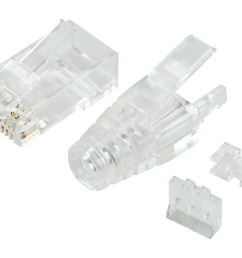 monoprice slimrun cat6 modular plug with strain relief 100 pack for use with [ 1200 x 900 Pixel ]