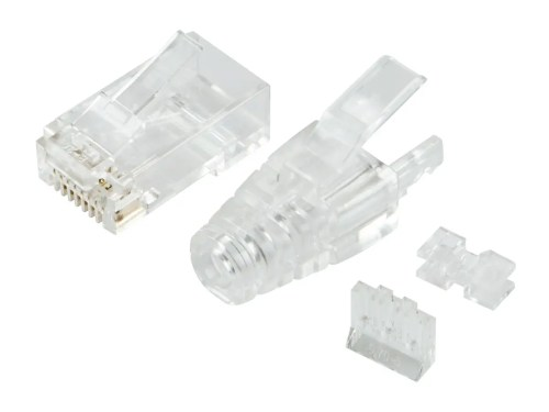 small resolution of monoprice slimrun cat6 modular plug with strain relief 100 pack for use with