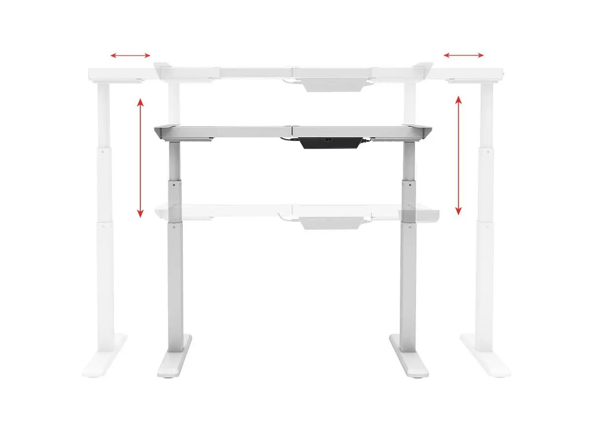 Workstream By Monoprice Sit Stand Dual Motor Height Adjustable Table Desk Frame Electric White