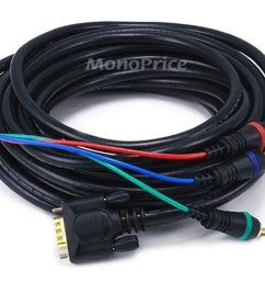 monoprice 25ft vga to 3 rca component video cable hd15 3 rca  [ 1200 x 900 Pixel ]
