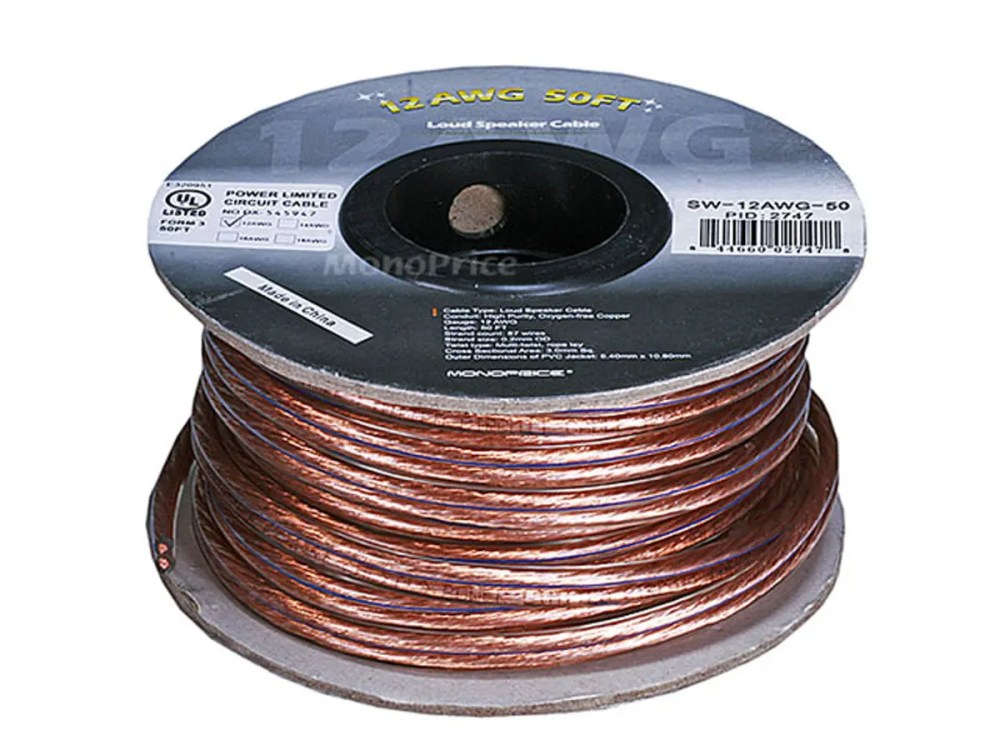 medium resolution of monoprice choice series 12awg oxygen free pure bare copper speaker wire 50ft small