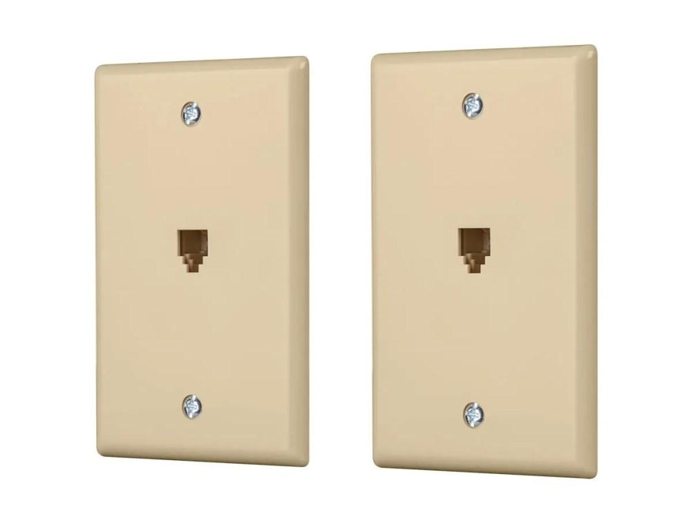 medium resolution of monoprice surface phone jack plate ivory 2 pack large image