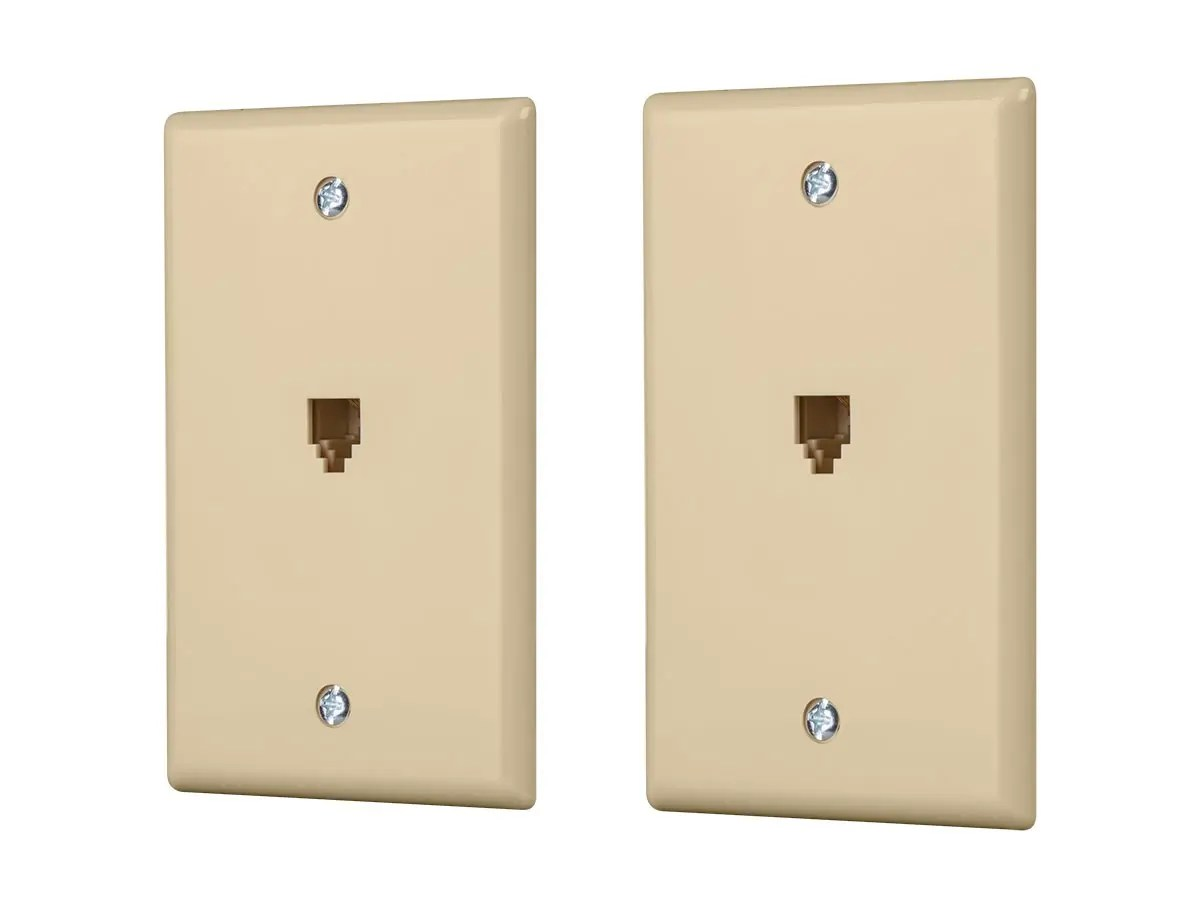 hight resolution of monoprice surface phone jack plate ivory 2 pack large image