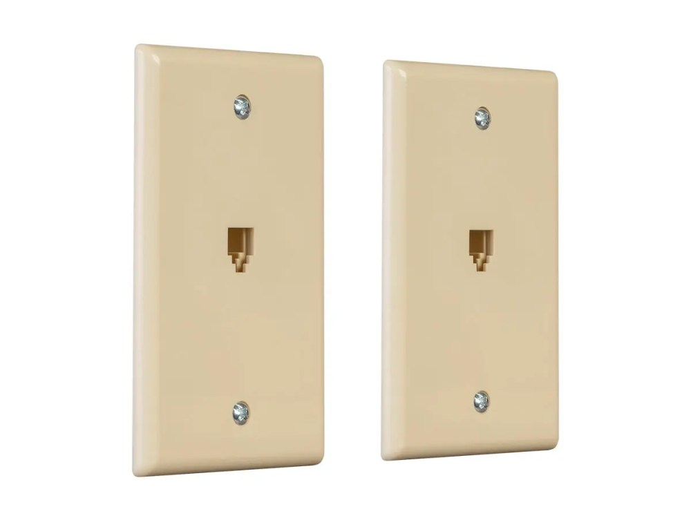medium resolution of monoprice surface phone jack plate ivory 2 pack small image