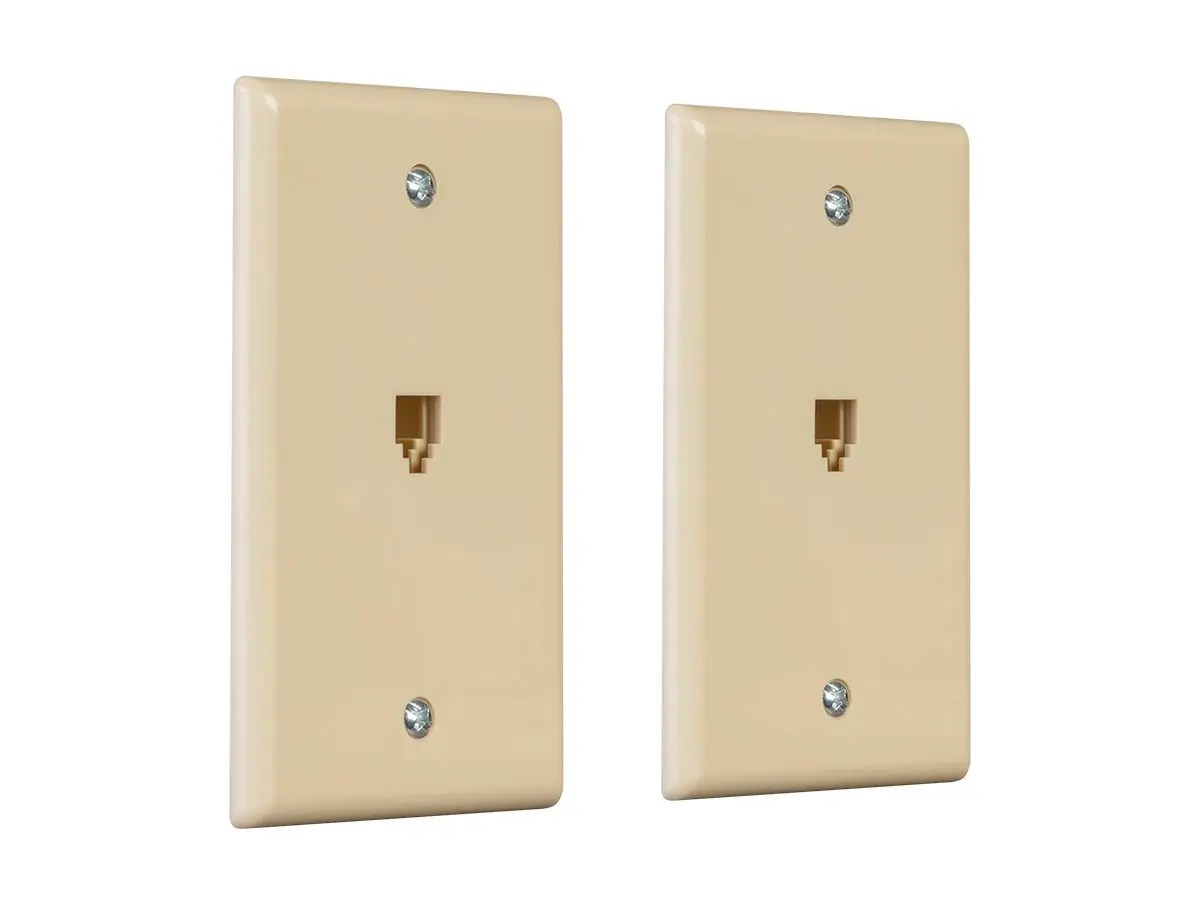 hight resolution of monoprice surface phone jack plate ivory 2 pack small image