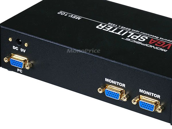 2- Svga Vga Splitter Amplifier Multiplier 400 Mhz - Black