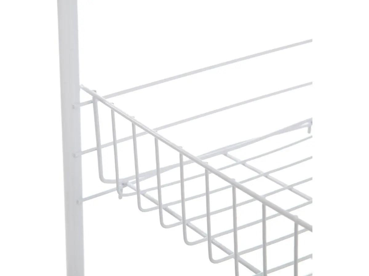 Mainstays 4 Tier Wire Rolling Cart Storage Kitchen Mobile Utility Cart Organizer White 10 X 15