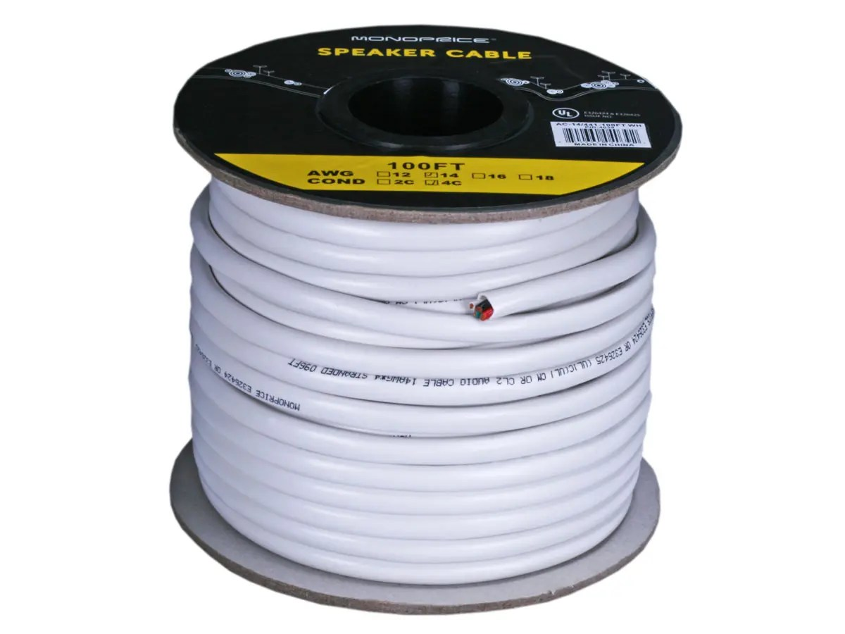 hight resolution of monoprice access series 14awg cl2 rated 4 conductor speaker wire 100ft small