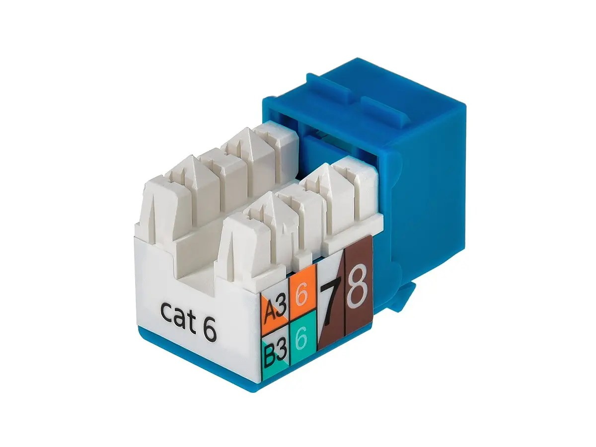 hight resolution of monoprice cat6 punch down keystone jack blue small image 2