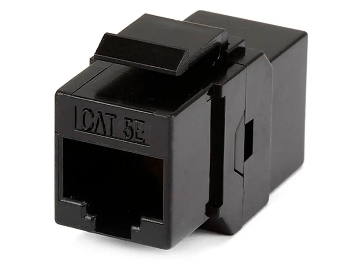 hight resolution of monoprice 8p8c rj45 cat5e inline coupler type keystone jack black large image