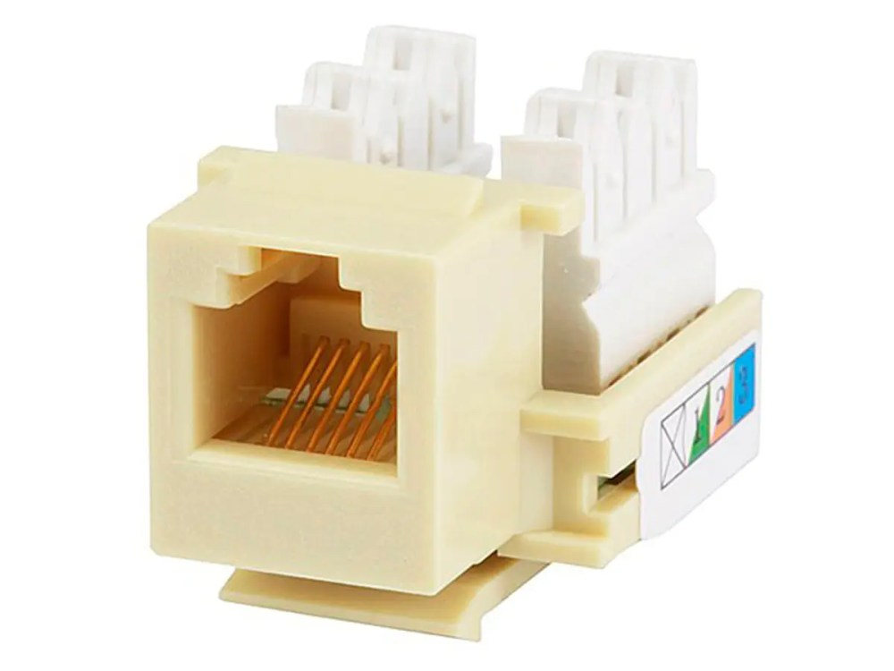 medium resolution of monoprice rj12 keystone jack 110 type beige large image 1