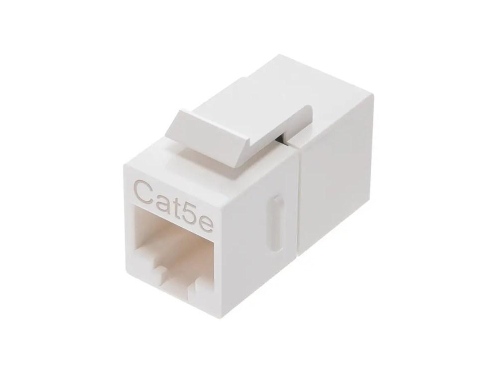 medium resolution of monoprice 8p8c rj45 cat5e inline coupler type keystone jack white small image