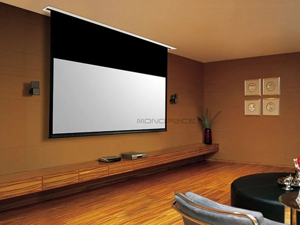 106in Hd White Fabric Ceiling-recessed Motorized Projection Screen 16 9