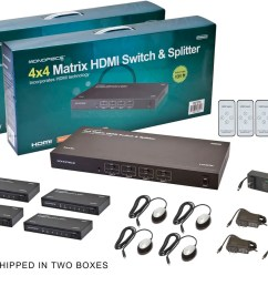 monoprice 4x4 matrix hdmi switch and splitter over cat5e cat6 cable with remote extend [ 1200 x 900 Pixel ]