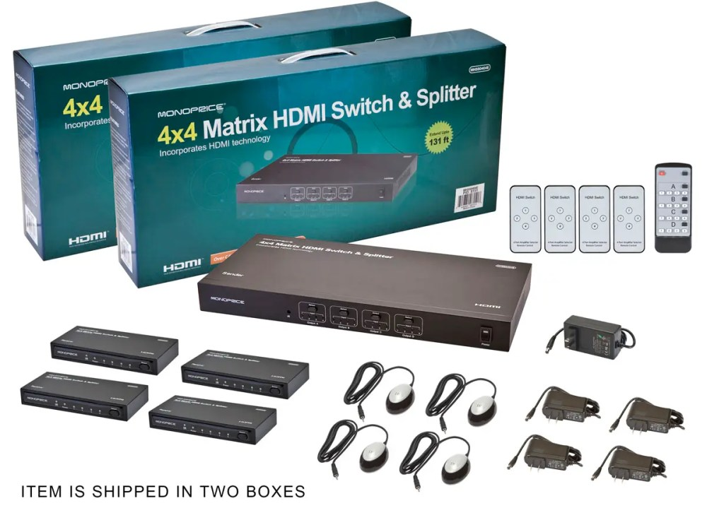 medium resolution of monoprice 4x4 matrix hdmi switch and splitter over cat5e cat6 cable with remote extend