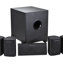 monoprice 5 1 channel home theater satellite speakers subwoofer black large image  [ 1200 x 900 Pixel ]