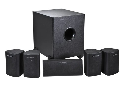 small resolution of monoprice 5 1 channel home theater satellite speakers subwoofer black large image
