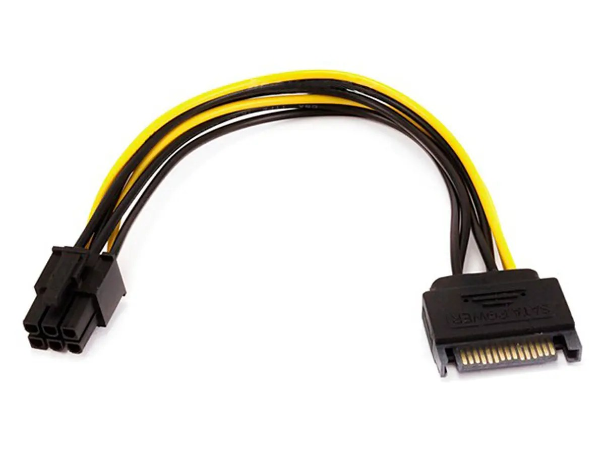 hight resolution of monoprice 8inch sata 15pin to 6pin pci express card power cable large image