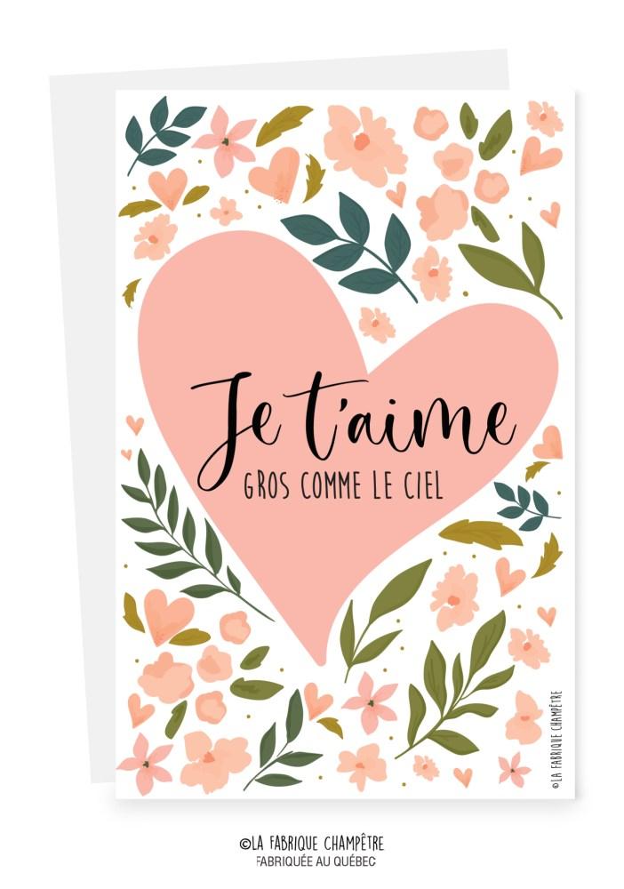 Je T'aime Gros Comme ça : t'aime, comme, Carte, Souhait, St-Valentin, Cadeaux, Boutique, Première