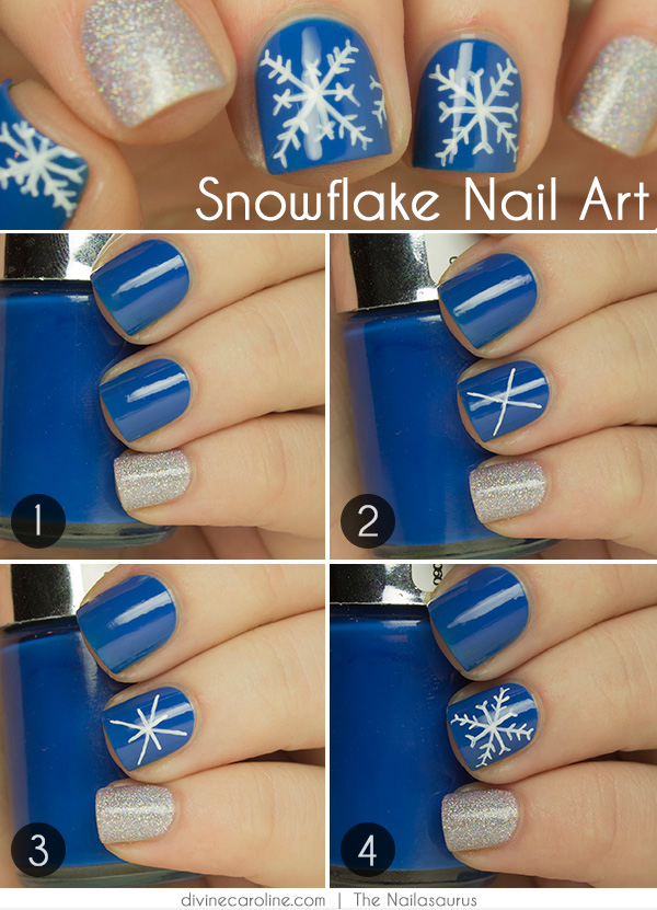 The Beautiful Simplicity Of Snowflake Offered Me Inspiration For This Simple Nail Art That S Perfect Winter