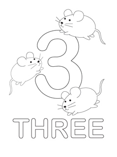 number 3 coloring page # 15