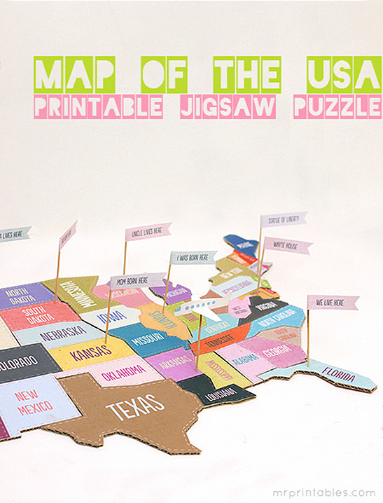 Turn your map of the usa into a fun jigsaw puzzle and flagging game to play. Map Of The Usa Jigsaw Puzzle Mr Printables