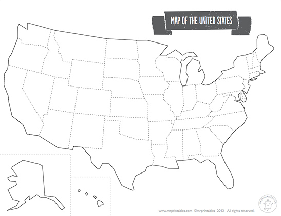 printable geographical map of the united states printable