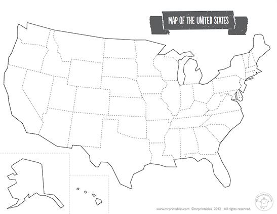 Printable Map of The USA Mr Printables