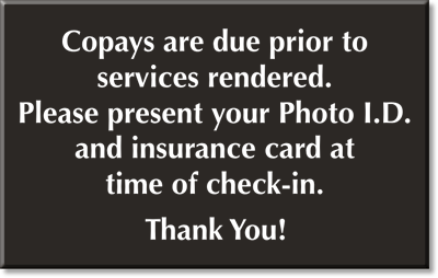 Copay Signs - Co-Pay Signs and Co-Payment Signs