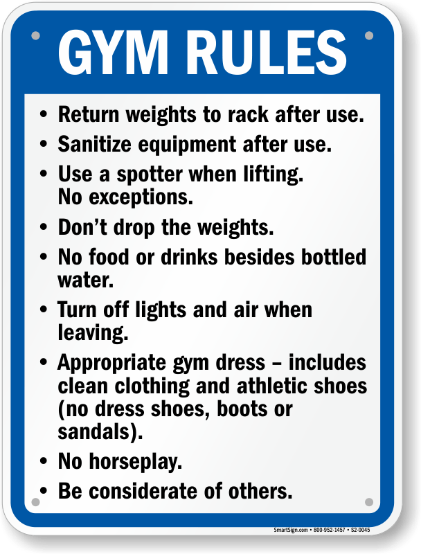 Gym Rules Fitness Center Sign  Quick Delivery SKU S20045
