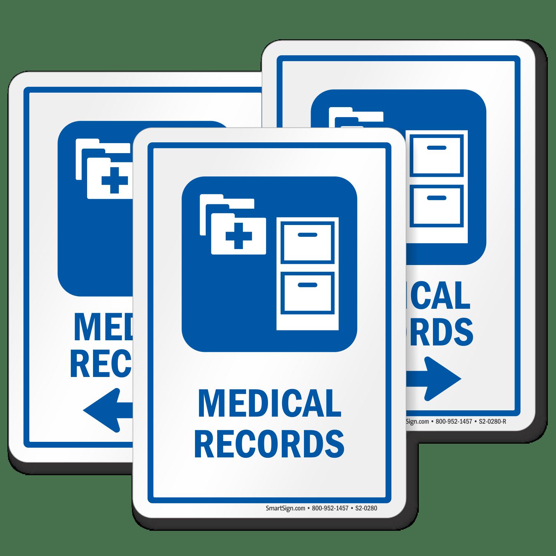 Medical Records Hospital Sign File Cabinet Symbol SKU