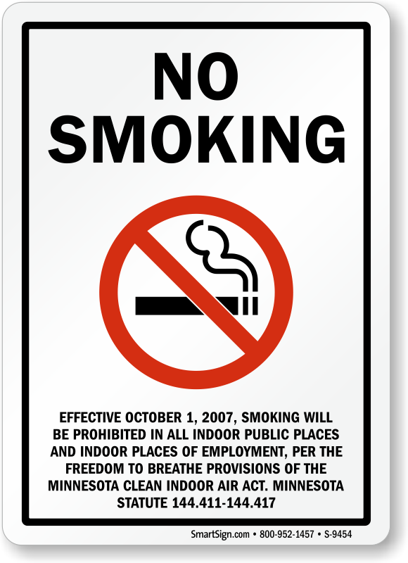 Minnesota No Smoking Signs SKU S9454