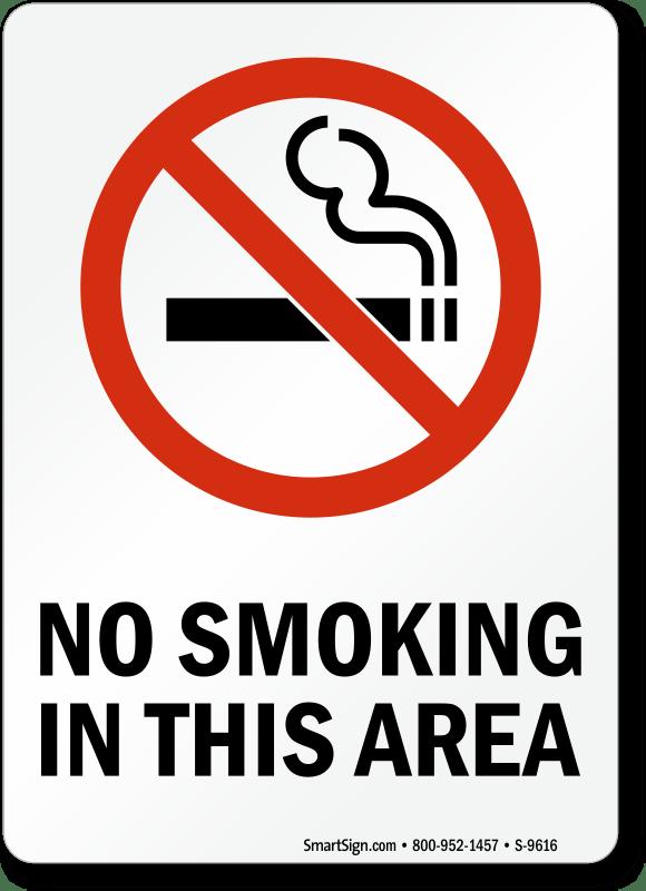 No Smoking Labels  No Smoking In This Area SKU S9616