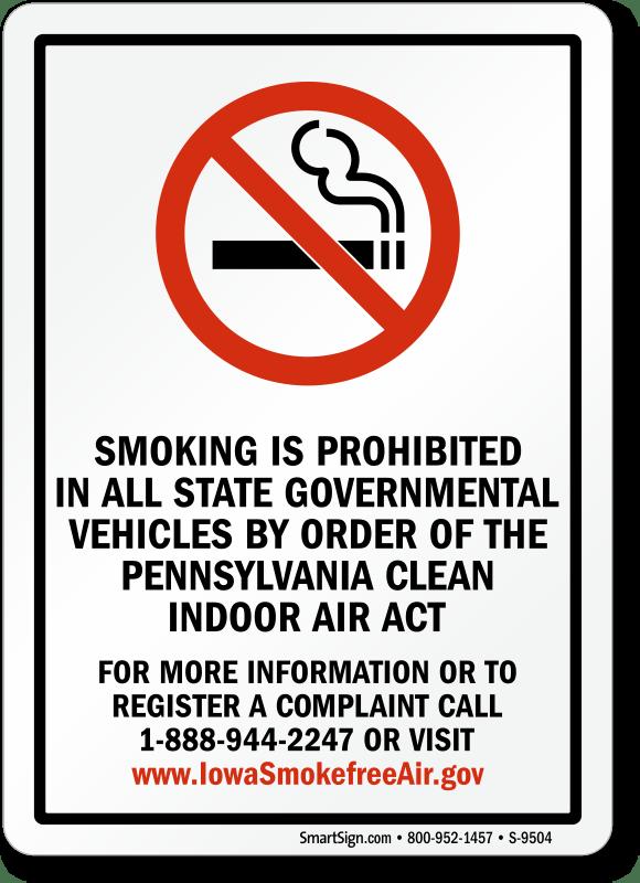 Pennsylvania No Smoking Signs SKU S9504