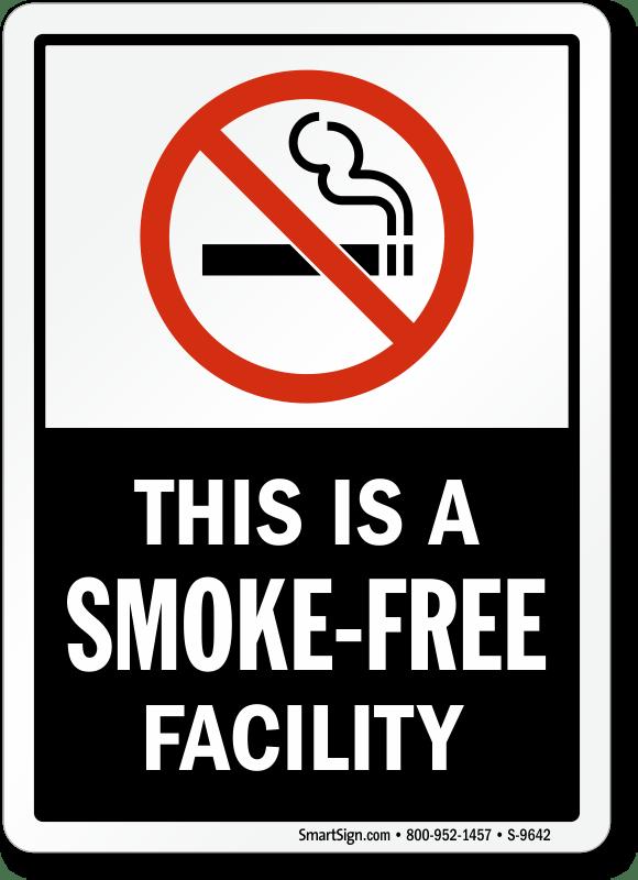No Smoking Labels  SmokeFree Facility SKU S9642